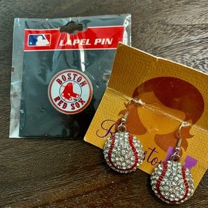 Boston Red Sox Label Pin and Earrings